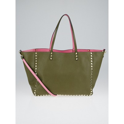 Valentino Green/Pink Pebbled Leather Rockstud Reversible Medium Tote Bag