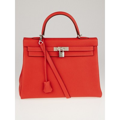 Hermes 35cm Rouge Pivoine Clemence Leather Palladium Plated Kelly Retourne Bag