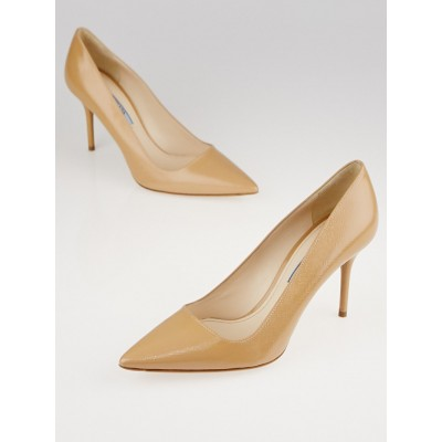 Prada Beige Patent Saffiano Leather Pointed Toe Pumps Size 7.5/38