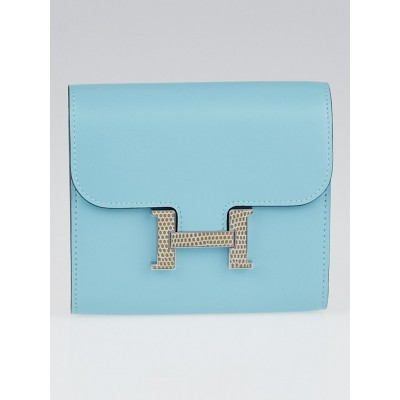 Hermes Blue Atoll Tadelakt Leather and Lizard Constance H Compact Wallet