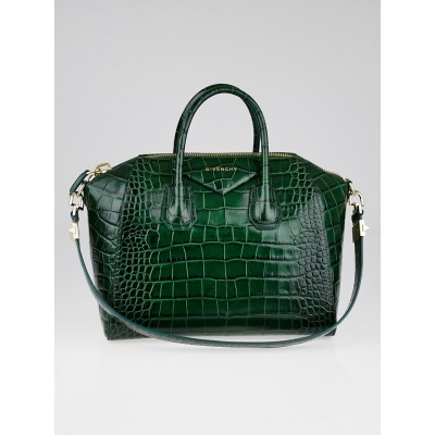 Givenchy Green Crocodile Stamped Calf Leather Antigona Bag