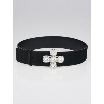 Chanel Black Suede and Crystal Belt Size 80/32