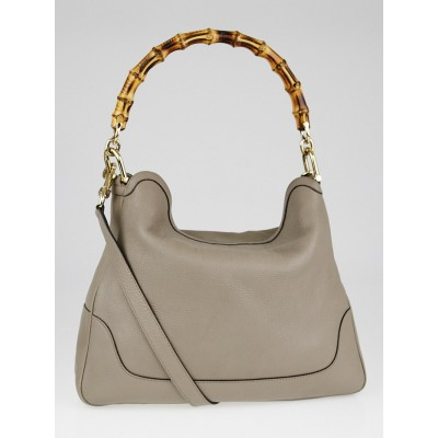 Gucci Grey Pebbled Leather Diana Bamboo Handle Shoulder Bag