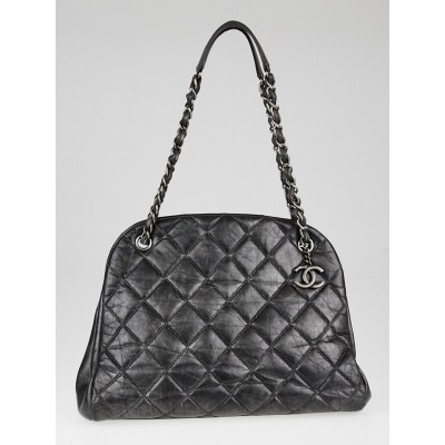 Chanel Dark Grey Quilted Calfskin Leather Just Mademoiselle Bowling Bag