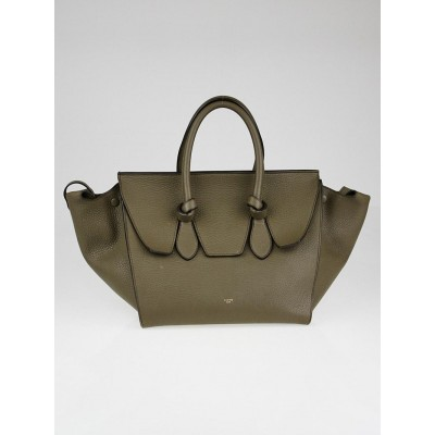 Celine Khaki Drummed Calfskin Leather Small Tie Tote Bag