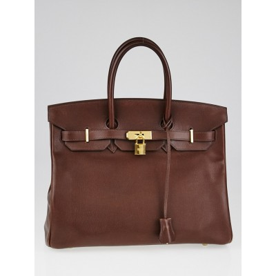 Hermes 35cm Havane Evergrain Leather Gold Plated Birkin Bag