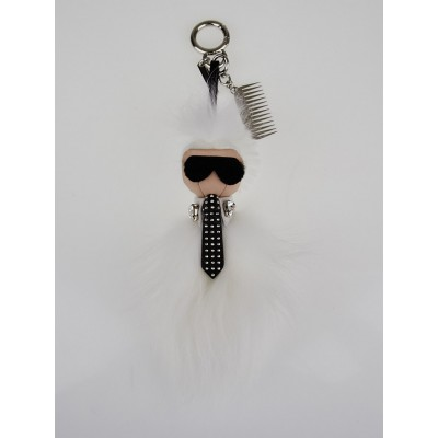 Fendi White Fur Mini Karlito Bag Charm