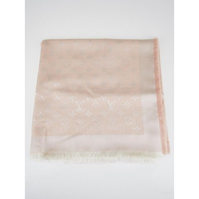 Louis Vuitton Light Pink Monogram Silk/Wool Shawl Scarf