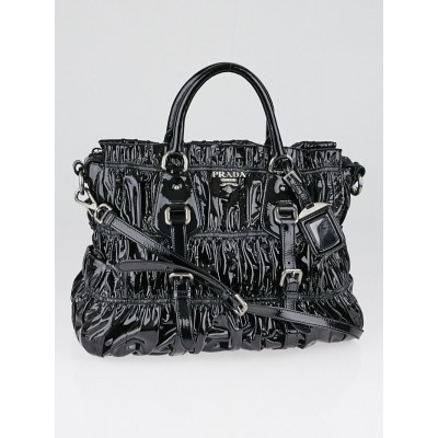 Prada Black Gaufre Patent Leather Shopping Tote Bag
