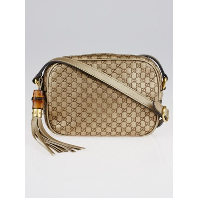 Gucci Metallic Gold Sunshine Micro Guccissima Disco Bag