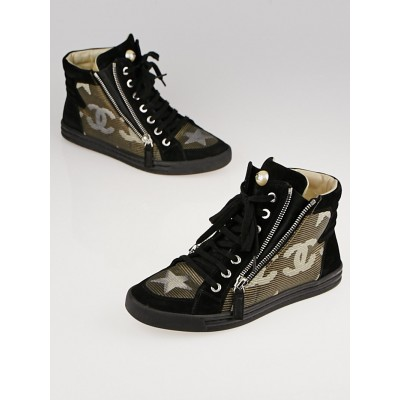 Chanel Dark Gold/Black Canvas Paris-Dallas High-Top Sneakers Size 6/36.5