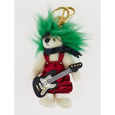 Prada Red/Green Fabric Trick Duke Rockstar Teddy Bear Key and Bag Charm