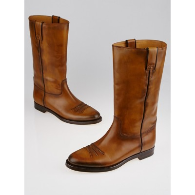 Gucci Brown Leather Calf-High Flat Boots Size 10/40.5
