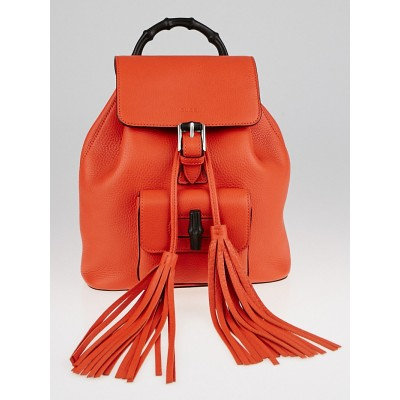 Gucci Orange Pebbled Leather Bamboo Top Handle Backpack Bag