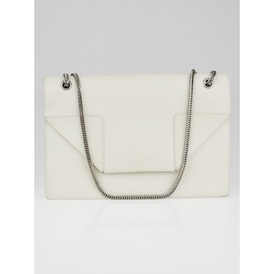 Yves Saint Laurent White Leather Medium Betty Flap Bag
