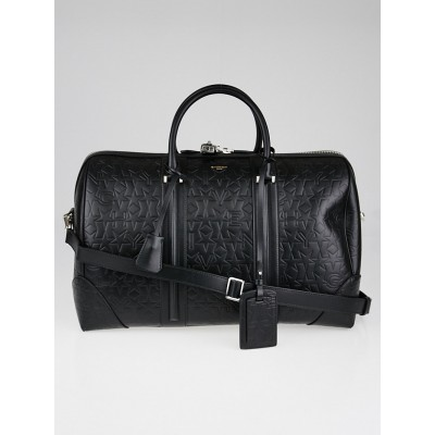 Givenchy Black Star Embossed Leather Weekender Duffle Bag