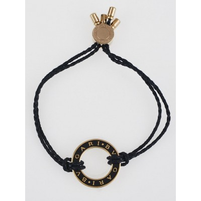 Bvlgari Goldtone Metal and Cotton Cord Bracelet
