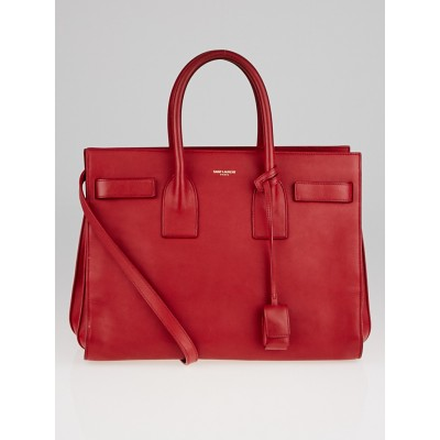 Yves Saint Laurent Red Calfskin Leather Small Sac de Jour Tote Bag