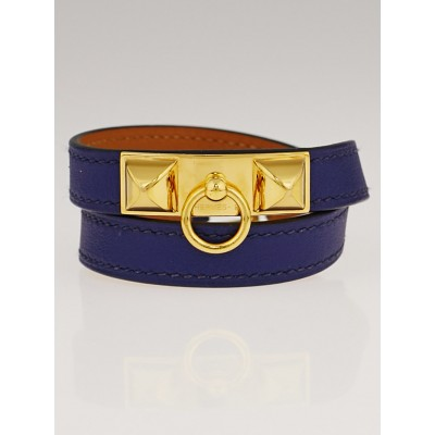Hermes Blue Sapphire Swift Leather Gold Plated Rivale Double Tour Bracelet Size S