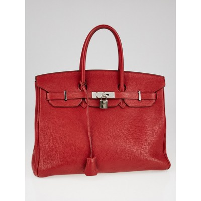 Hermes 35cm Rouge Vif Togo Leather Palladium Plated Birkin Bag