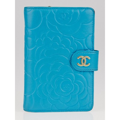 Chanel Turquoise Leather Camellia Embossed L Zip Pocket Wallet