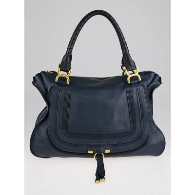 Chloe Navy Blue Pebbled Leather Large Marcie Satchel Bag