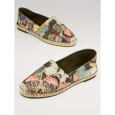 Valentino Butterfly Printed Canvas Espadrille Flats Size 5.5/36