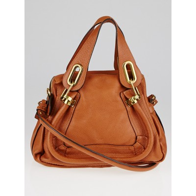 Chloe Brown Pebbled Leather Small Paraty Bag