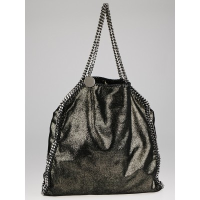 Stella McCartney Black Metallic Shaggy Deer Faux-Leather Falabella Fold Over Tote Bag