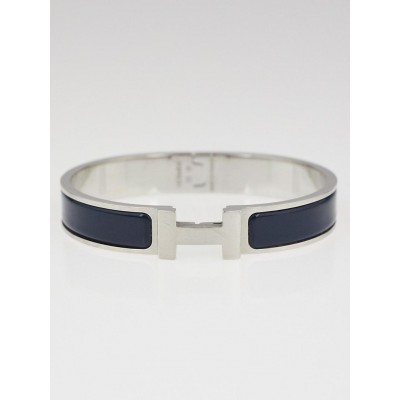 Hermes Blue Enamel Brushed Palladium Plated Clic HH Narrow Bracelet