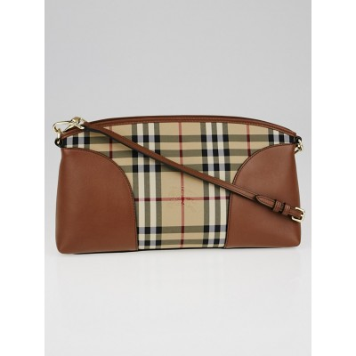 Burberry Tan Leather Horseferry Check Canvas Small Chichester Shoulder Bag