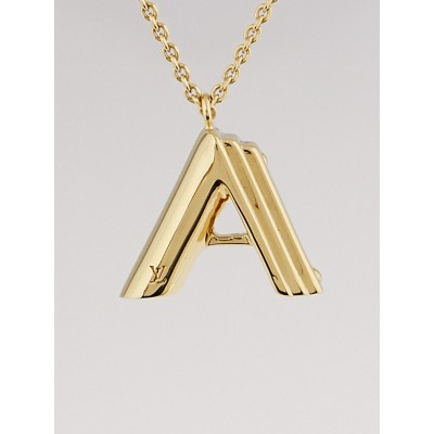 Louis Vuitton Goldtone Metal LV and Me Letter A Necklace