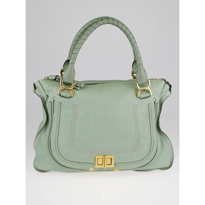Chloe Light Green Leather Large Marcie Turn-Lock Large Satchel Bag
