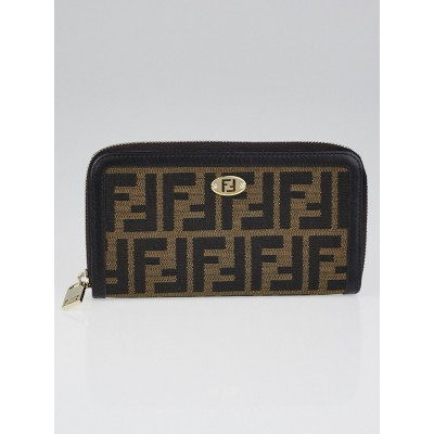 Fendi Tobacco Zucca Coated Canvas Zippy Wallet