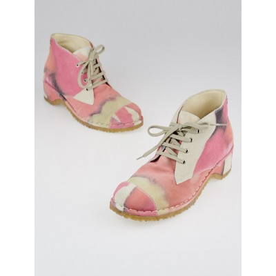 Chanel Beige and Pink Suede Lace Up Ankle Boots Size 8/38.5