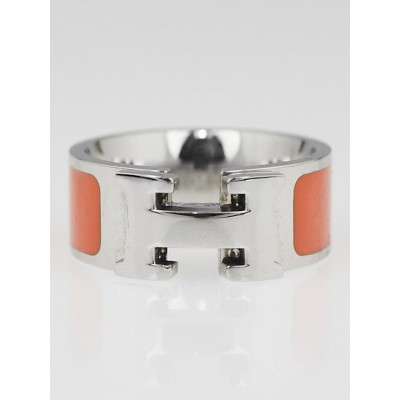 Hermes Orange Enamel Palladium Plated Clic-Clac H Ring Size 8