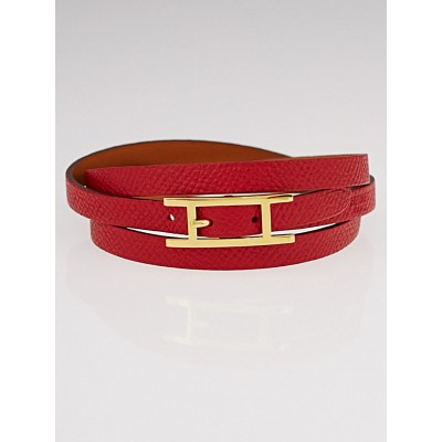 Hermes Rouge Epsom Leather Gold Plated Hapi 3 MM Bracelet Size GM