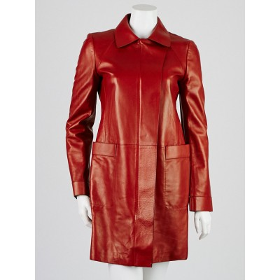 Gucci Red Leather Pointcollar Long Jacket Size 8/42