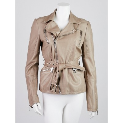Gucci Taupe Lambskin Leather Belted Motorcycle Jacket Size 10/44