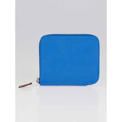 Hermes Blue Agate Epsom Leather Compact Silk'in Wallet