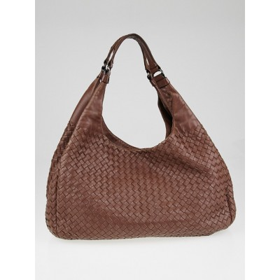 Bottega Veneta Brown Woven Leather Large Campana Bag