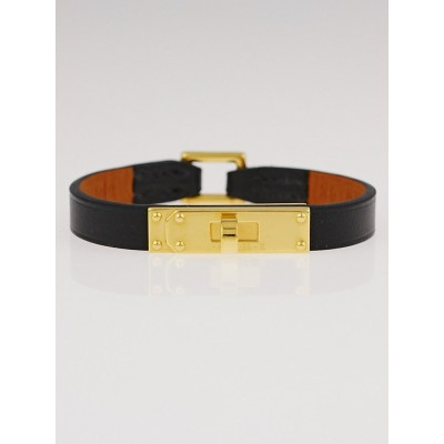 Hermes Black Chamonix Leather Gold Plated Micro Kelly Bracelet Size XS