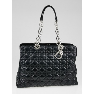 Christian Dior Black Cannage Quilted Patent Leather Soft Shopping Tote Bag