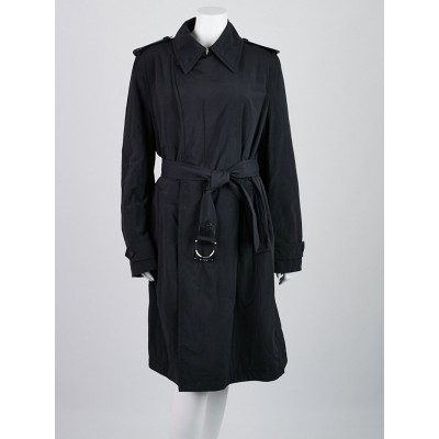 Louis Vuitton Black Nylon Belted Trench Coat Size 14/48