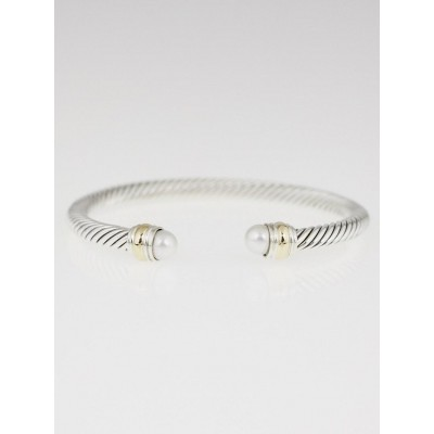David Yurman 5mm Sterling Silver and 14k Gold Pearl Cable Classics Bracelet