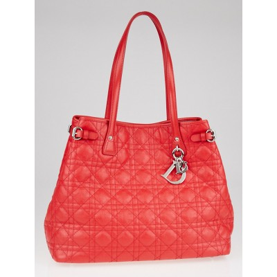 Christian Dior Red Cannage Quilted Coated Canvas Medium Panarea Tote Bag