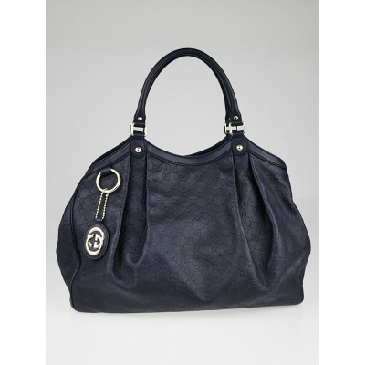 Gucci Navy Blue Guccissima Leather Large Sukey Tote Bag