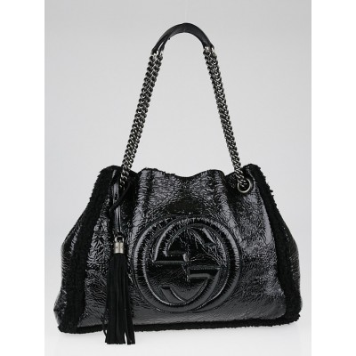 Gucci Crushed Black Patent Leather and Wool Shearling Soho Chain Tote Bag