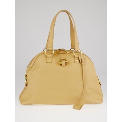 Yves Saint Laurent Beige Leather Large Muse Bag
