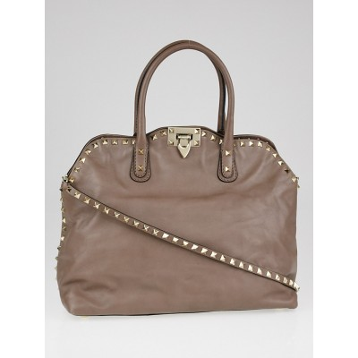Valentino Taupe Leather Rockstud Dome Double Handle Bag